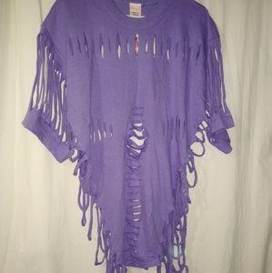 New 80s tear wear XL swimsuit cover up purple top